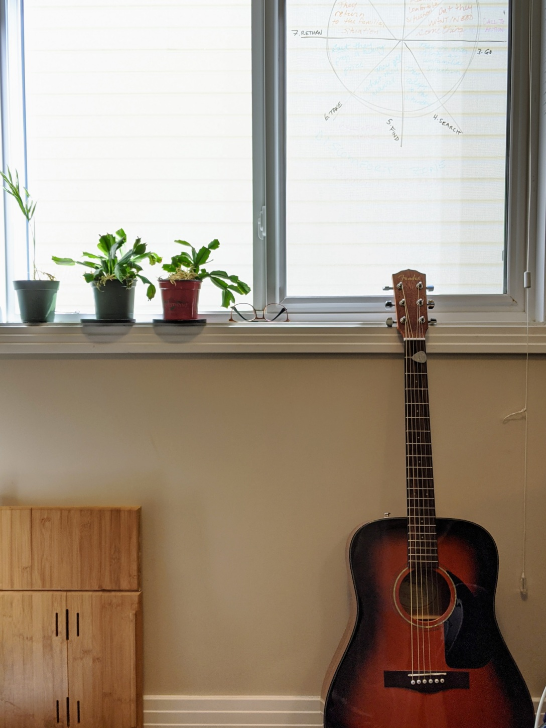 A picture from one end of my office, where my Christmas cacti are enjoying the sunny windowsill and my guitar is leaning against the wall underneath a dry erase-drawn version of the 8-point story wheel.